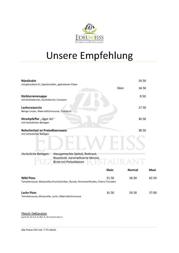 Edelweiss-Pizzeria-Restaurant-Unsere-Empfehlung
